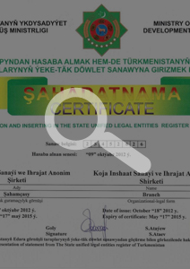 Certificate of State Registration – Turkmenistan